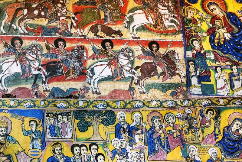 Den forntida inre för den ortodoxa kyrkan målade väggar i gondar ethiopi royaltyfria foton