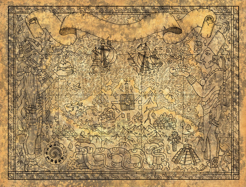 Den forntida mayan eller aztecsöversikten med gudar, gamla skepp och templet på papper texturerade bakgrund stock illustrationer