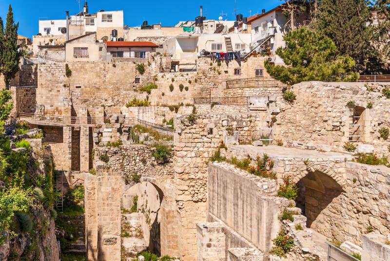 Den forntida pölen av Bethesda fördärvar Gammal stad Jerusalem, Israel royaltyfria bilder