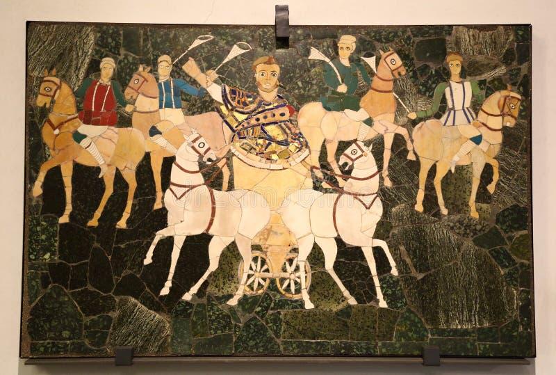 Den forntida roman mosaiken i medborgaren Roman Museum, romare, Italien arkivfoto