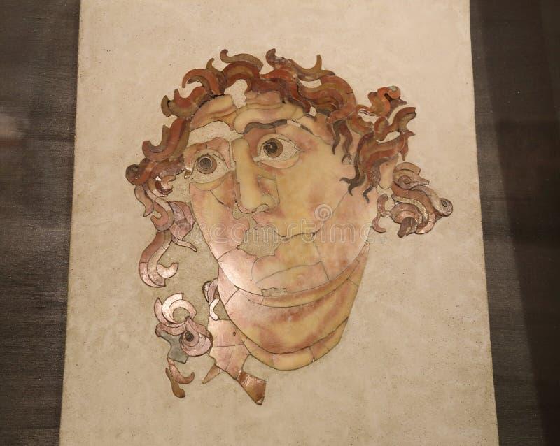 Den forntida roman mosaiken i medborgaren Roman Museum, romare, Italien arkivbilder