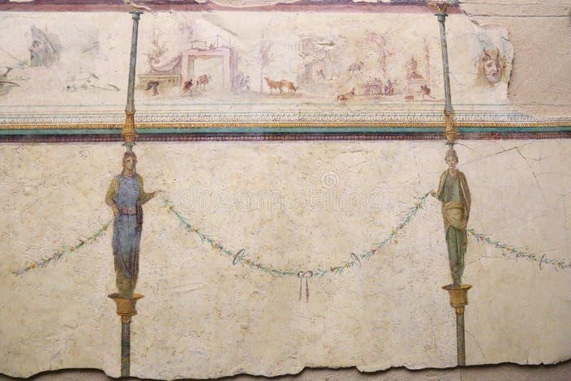 Den forntida roman mosaiken i medborgaren Roman Museum, romare, Italien arkivbild