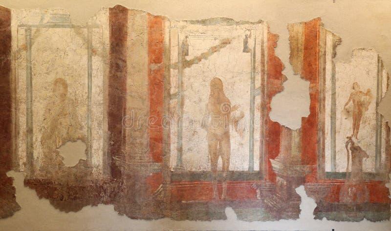 Den forntida roman mosaiken i medborgaren Roman Museum, romare, Italien royaltyfria bilder