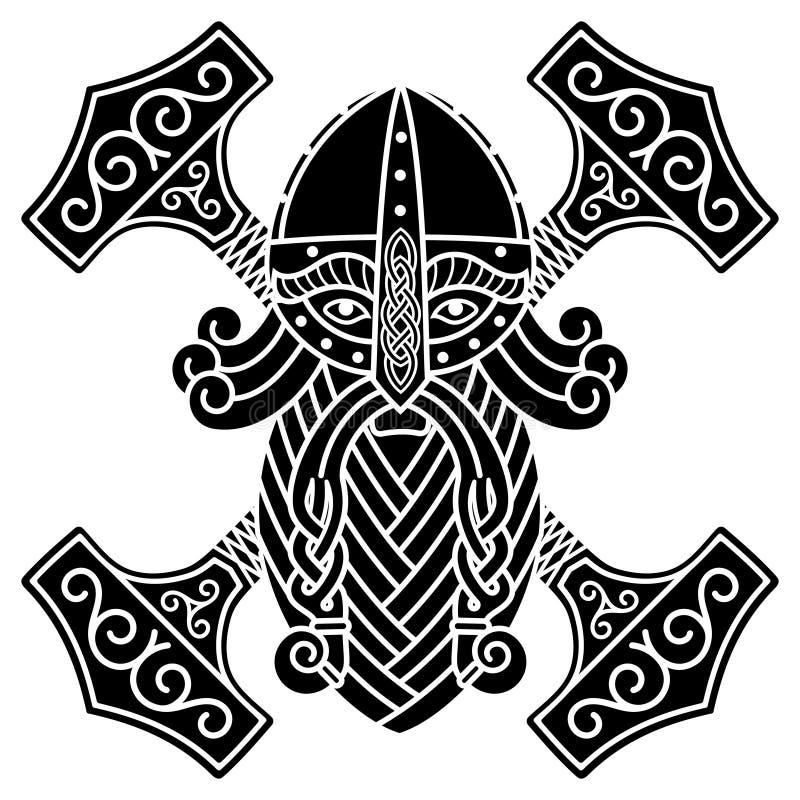 Den forntida skandinaviska gudthoren och hammaren Mjolnir royaltyfri illustrationer