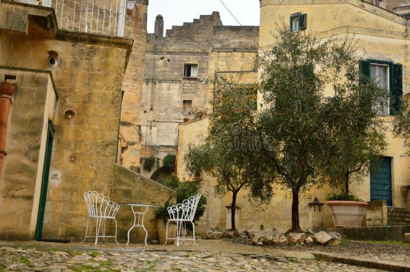 Den forntida staden av Matera arkivfoto