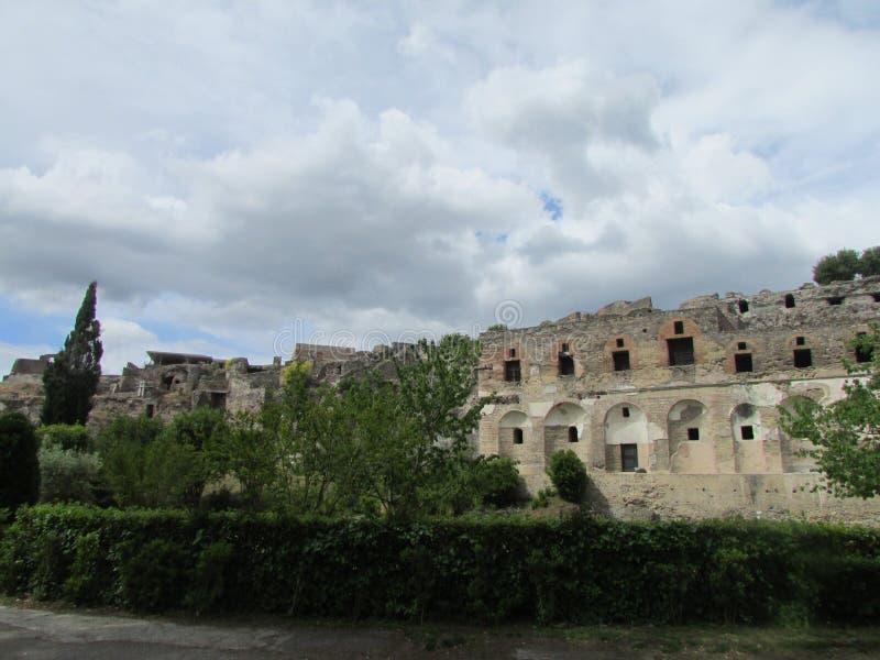Den forntida staden av Pompey, som dog under utbrottet av Mount Vesuvius Grannskap av Naples arkivfoton
