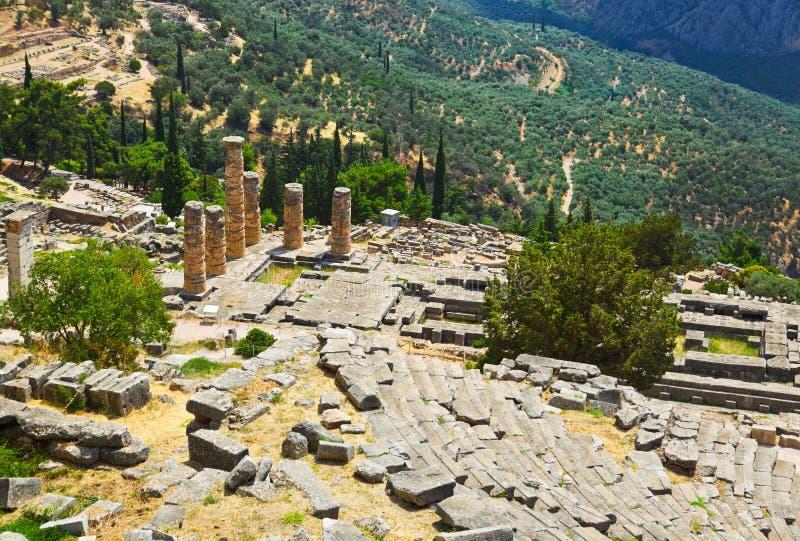 den forntida staden delphi greece fördärvar arkivbild