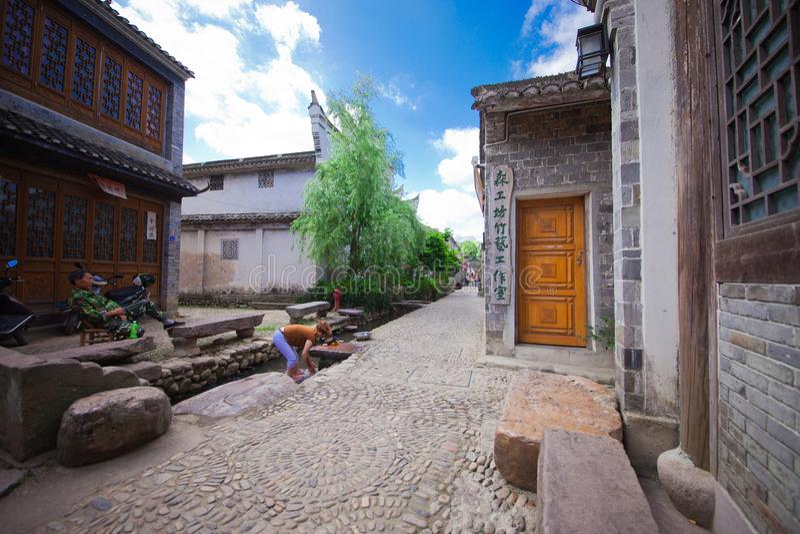 Den forntida staden namngav Tongli i Ningbo av Kina arkivfoto