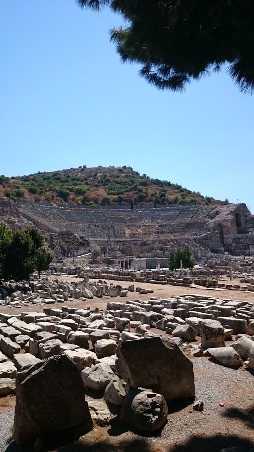 Den forntida teatern i Ephesus royaltyfri bild