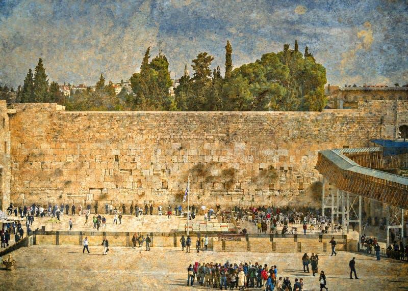 Den forntida västra väggen är ett offentligt område, Jerusalem, Israel royaltyfri foto
