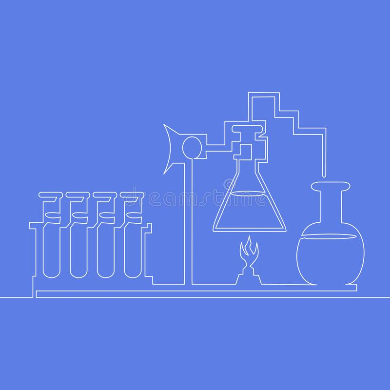 Den fortlöpande en linjen kemisk labb svarar vektorn stock illustrationer