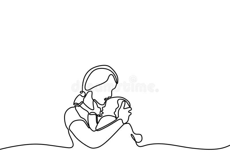 den fortlöpande en linjen teckning av behandla som ett barn född och för moder minimalist design Förälskelse- och lyckabegrepp av vektor illustrationer