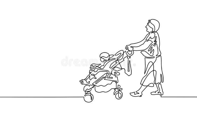 Den fortlöpande en linjen teckning av farmodern går med en bab royaltyfri illustrationer