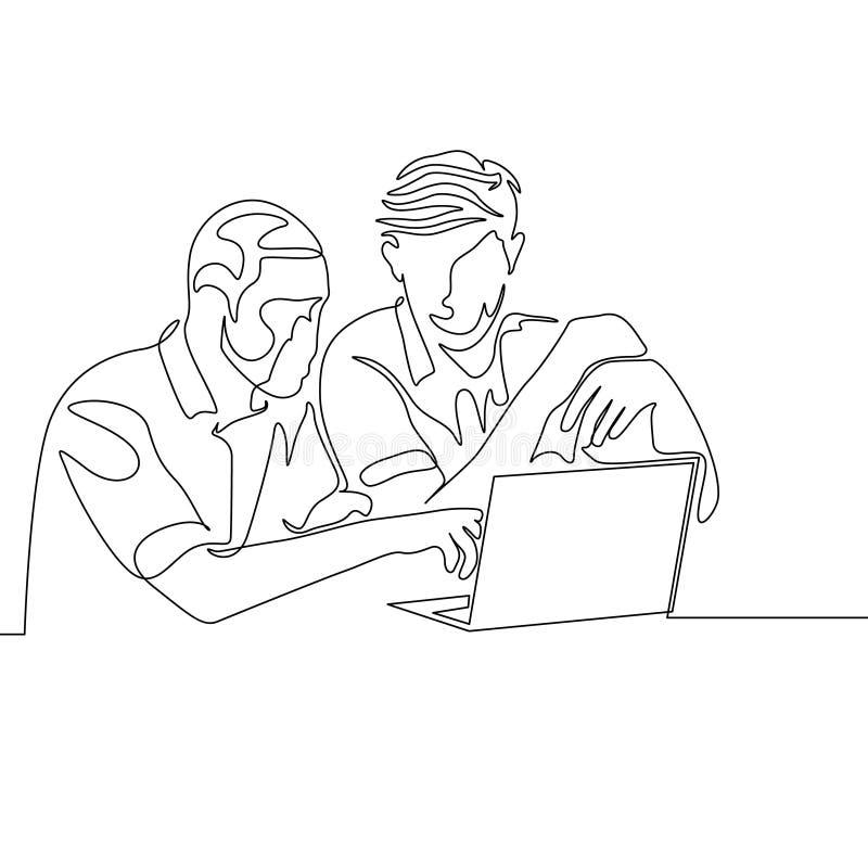 Den fortlöpande en linjen teckning två mans arbete samman med hjälpbärbara datorn royaltyfri illustrationer