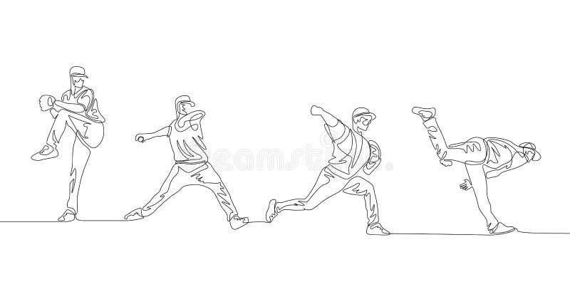 Den fortlöpande linjen illustration visar stegvis processen av att kasta en baseball stock illustrationer