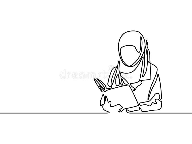 Den fortlöpande linjen muslimkvinnastudentr läste en bok ocks? vektor f?r coreldrawillustration royaltyfri illustrationer