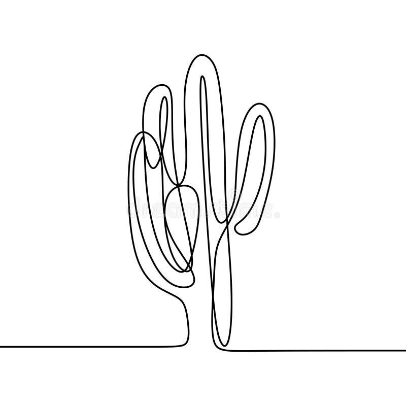Den fortlöpande linjen den svartvita teckningen av vektorkaktuns skissar minimalist design stock illustrationer
