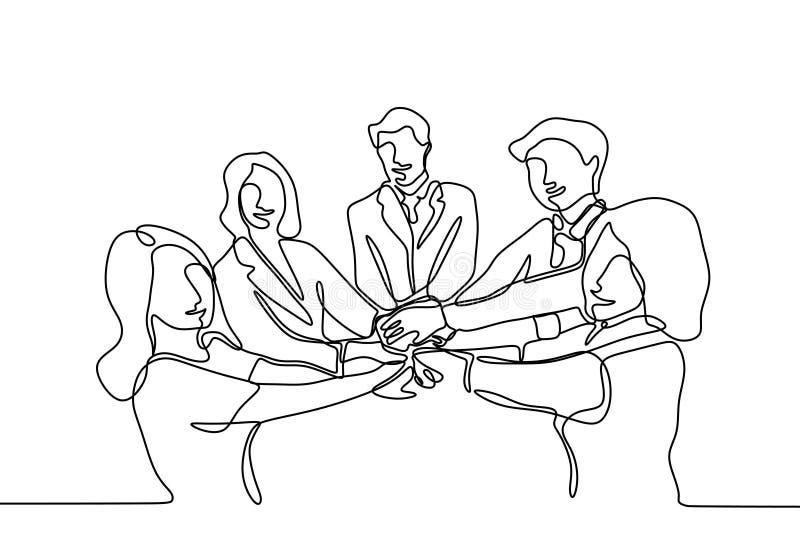 Den fortlöpande linjen teckning av affärsfolk sammanfogar handen tillsammans under deras möte stock illustrationer