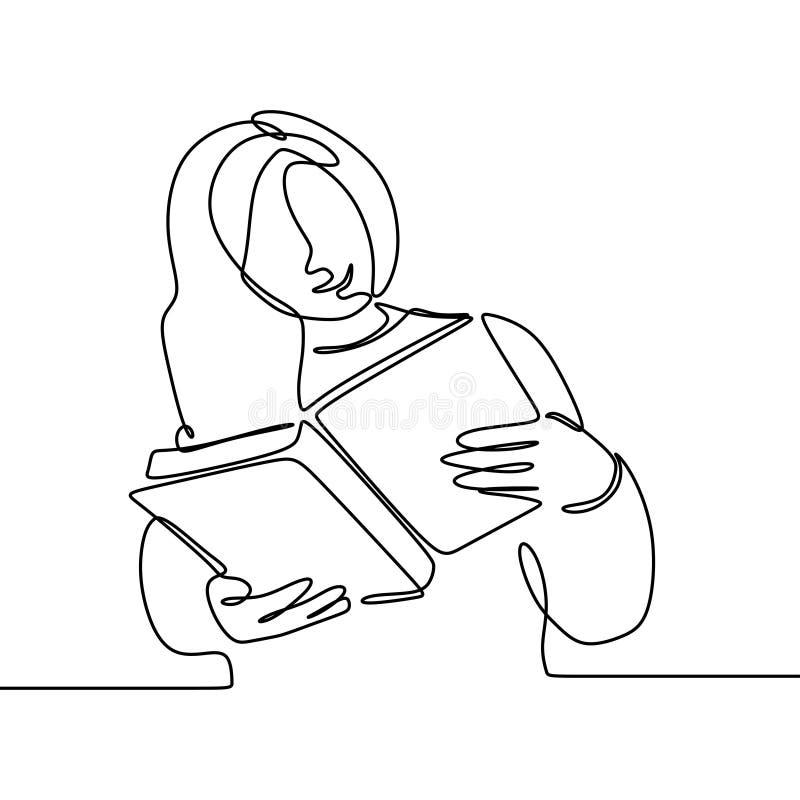 Den fortlöpande linjen teckning av flickan läste minimalist design för bok royaltyfri illustrationer