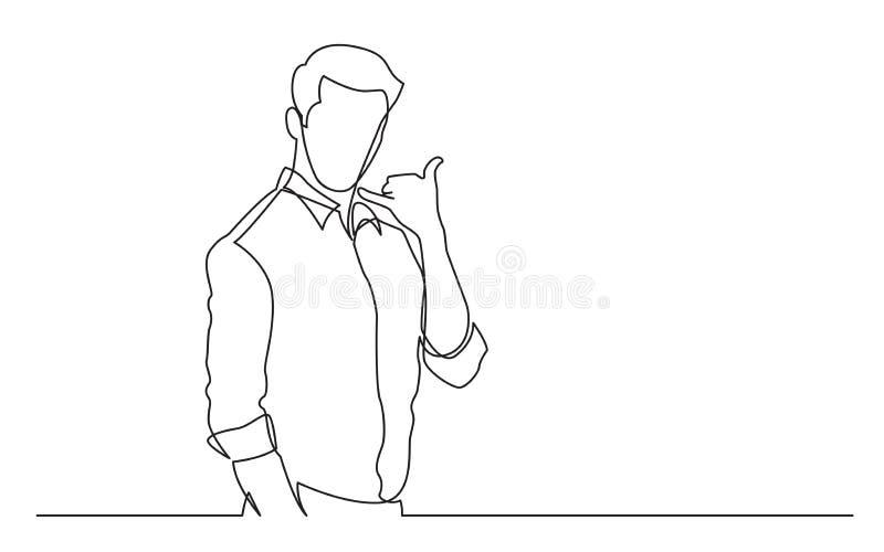 Den fortlöpande linjen teckning av den stående manvisningen kallar mig gesten royaltyfri illustrationer