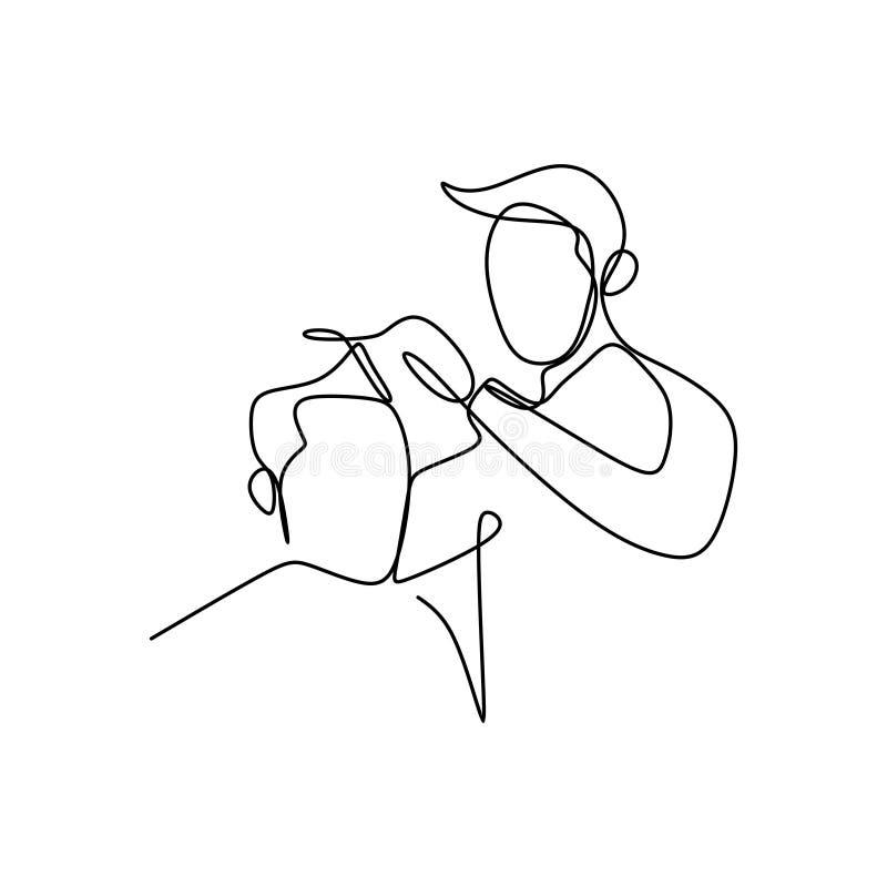 den fortlöpande linjen teckning och hårskäraren ordnar håret för att göra det kallt royaltyfri illustrationer