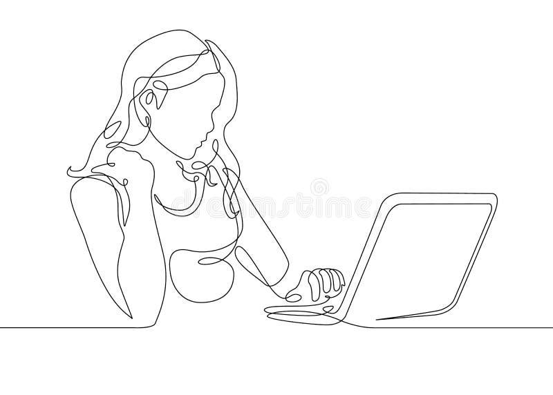 Den fortlöpande linjen teckningsflicka sitter på en bärbar dator stock illustrationer