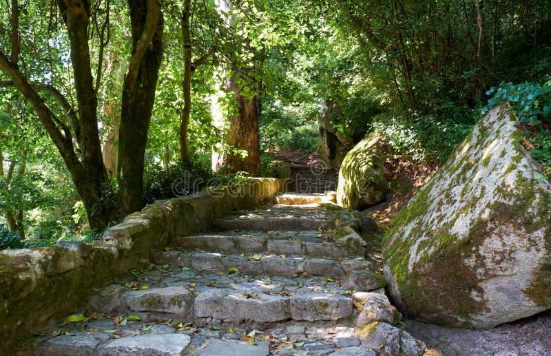 Den fot- rutten till slotten av Pena Sintra portugal royaltyfri foto