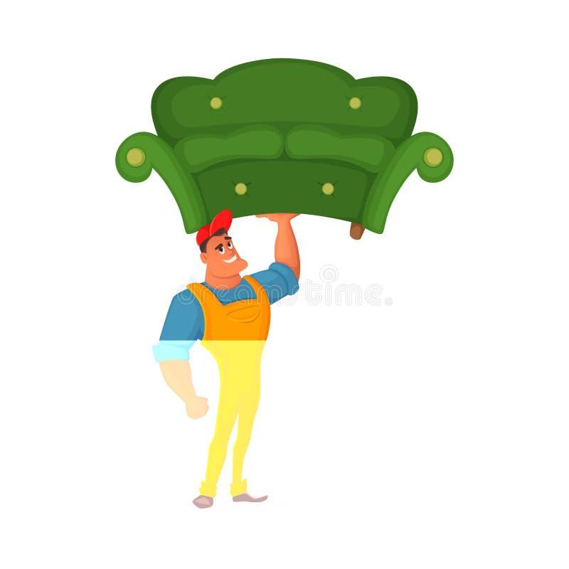 den främmande tecknad filmkatten flyr illustrationtakvektorn Laddarinnehav i en hand en soffa Tecken för begreppsdesign anställd  royaltyfri illustrationer