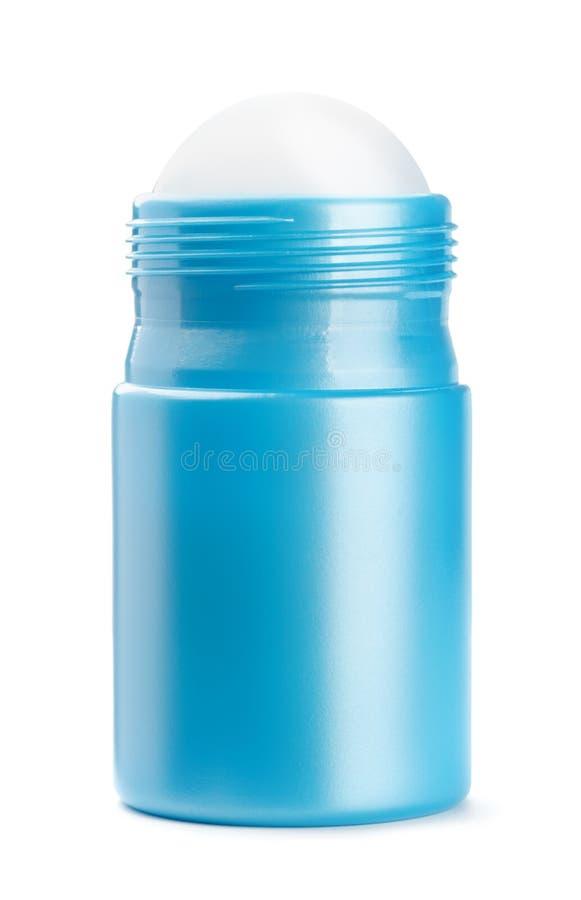 Den främre sikten av blått rullar på deodorantflaskan arkivbilder