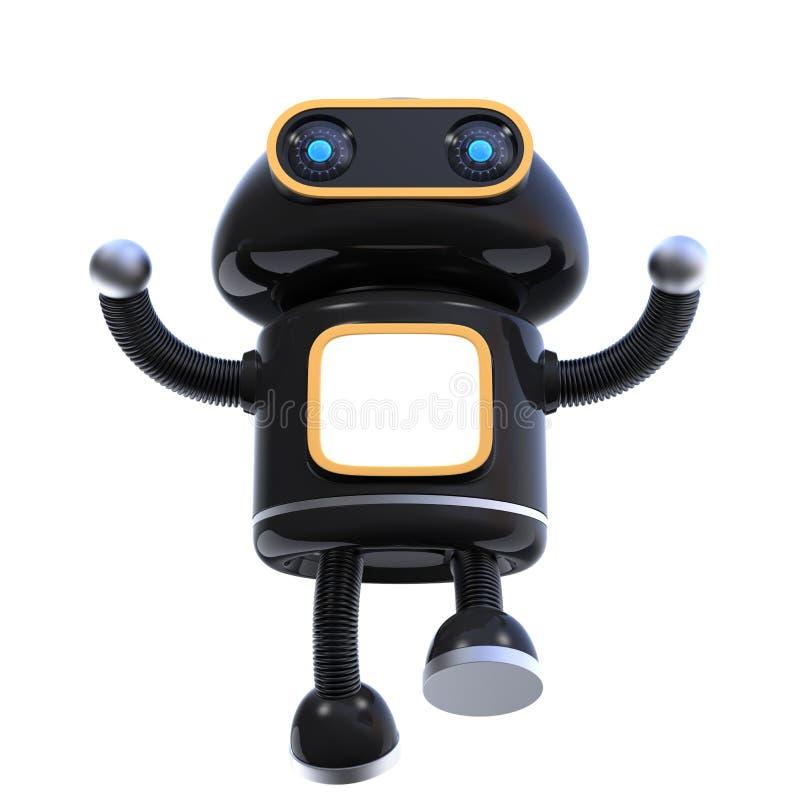 Den främre sikten av den gulliga roboten som hoppar upp med hans händer, lyftte isolerat på vit bakgrund Kopieringsutrymme på bil royaltyfri illustrationer