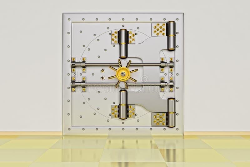 Den främre sikten av den ljusa guld- dörren för bankvalvet, stängde sig 3d framf?r royaltyfri illustrationer