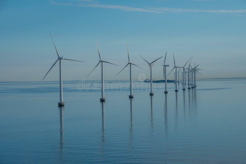 Den frånlands- väderkvarnen parkerar alternativ energi väderkvarnar i havet med reflexion i morgonen, Danmark royaltyfri bild