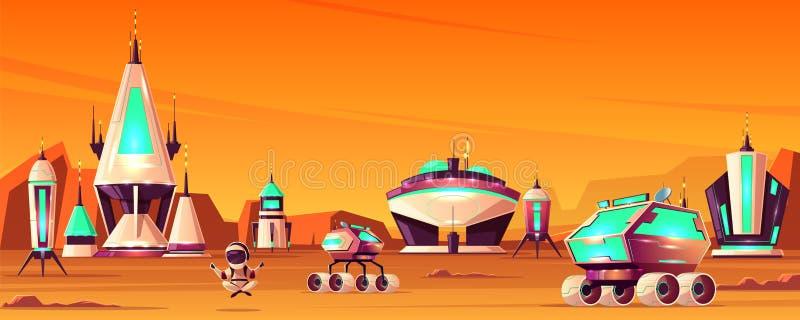 Den framtida kolonin fördärvar på tecknad filmvektorbegrepp vektor illustrationer