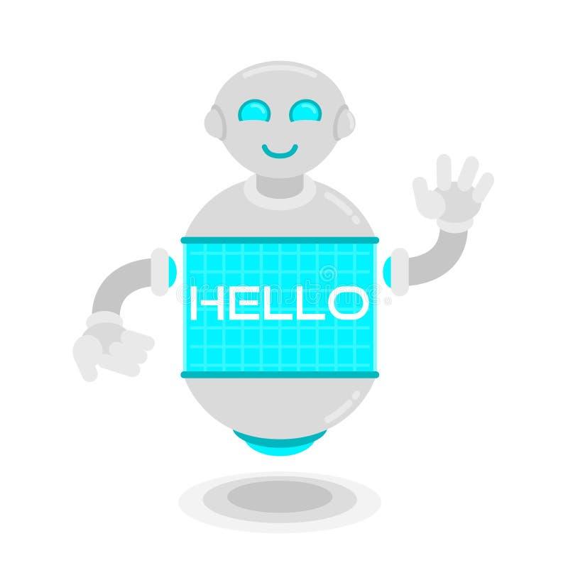 Den framtida roboten säger hälsningar vektor illustrationer
