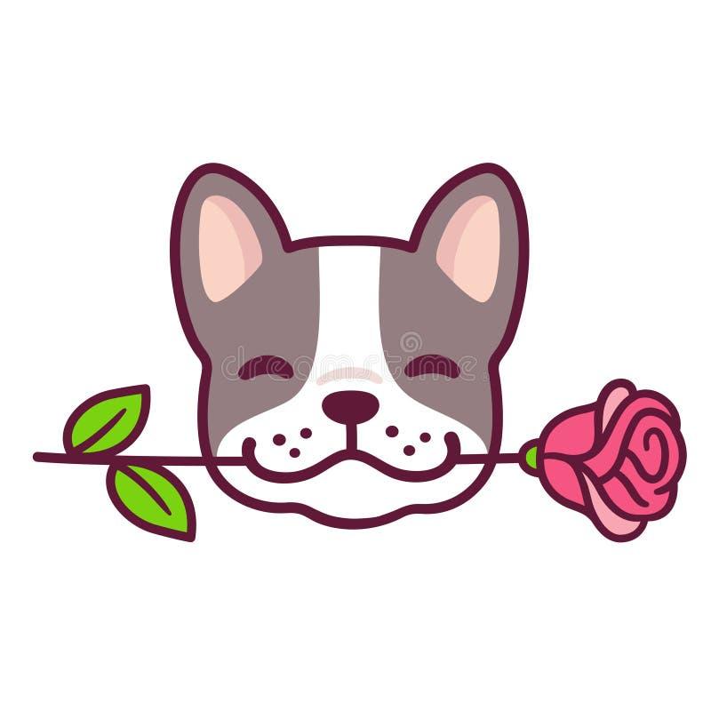 Den franska bulldoggen med steg royaltyfri illustrationer