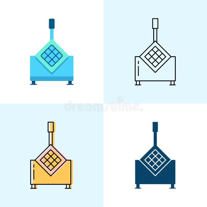 Den franska småfiskskäraresymbolen ställde in i lägenheten och linjen stilar stock illustrationer