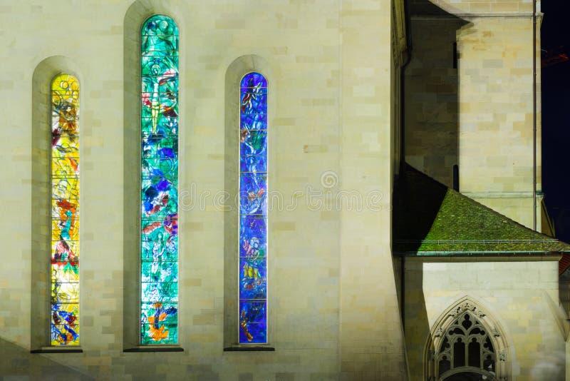Den Fraumunster (kvinnadomkyrka) kyrkan, Zurich arkivfoton
