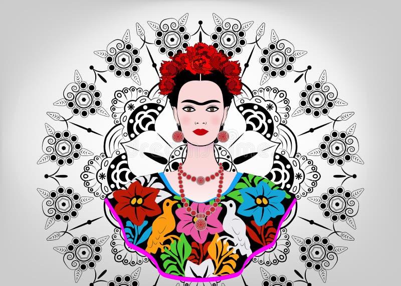 Den Frida Kahlo vektorståenden, den unga härliga mexikanska kvinnan med en traditionell frisyr, mexikan tillverkar smycken och kl royaltyfri illustrationer