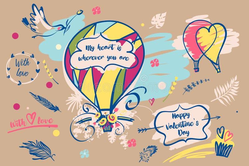 Den frihandsdrog illustrationen med text min hjärta är varhelst dig a royaltyfri illustrationer