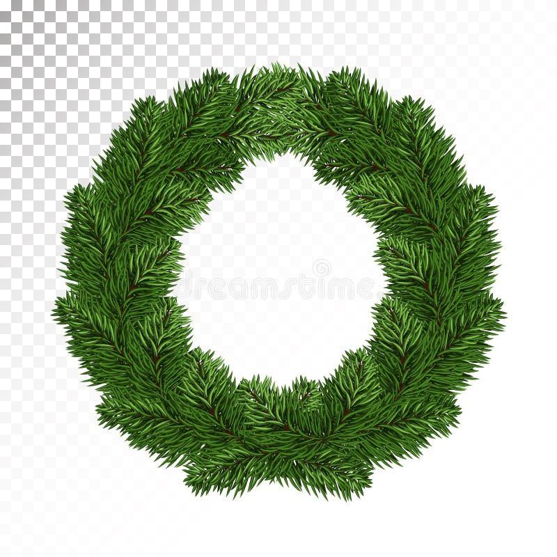 Den frodiga gröna granen/sörjer kransar white för juldekorisolering isolerat P stock illustrationer