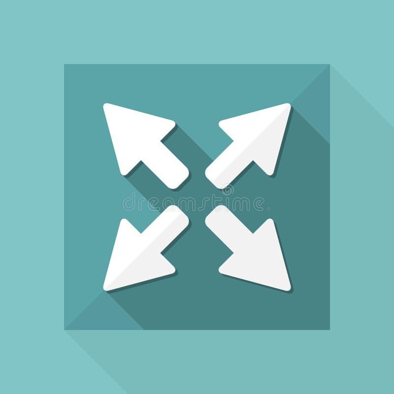 Den fulla skärmen utvidgar knappen - plan symbol för vektor royaltyfri illustrationer