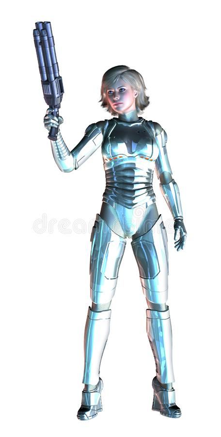 Den futuristiska flickan som beväpnas med det tunga vapnet, försilvrar den metalliska dräkten, illustrationen 3d vektor illustrationer