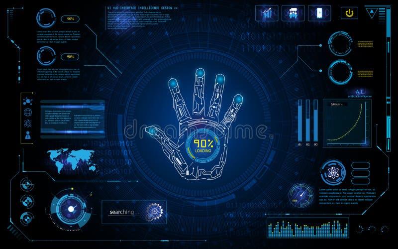 Den futuristiska handbildläsningen identifierar med mallen för bakgrund för designen för bildskärmen för skärmen för hudbeståndsd stock illustrationer