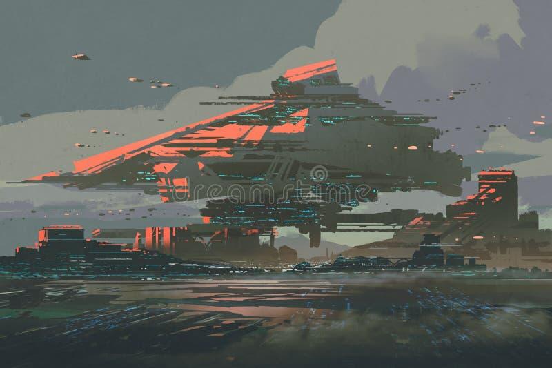 Den futuristiska kolonin på en planet med mega strukturer royaltyfri illustrationer