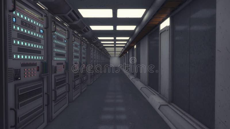 Den futuristiska korridoren och framför datorer royaltyfri illustrationer