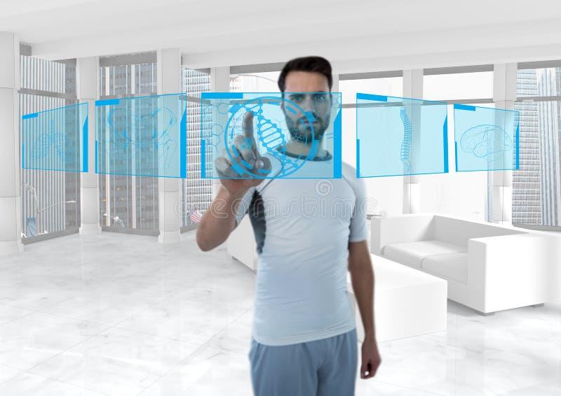 Den futuristiska rummanöverenheten, den sportiga mannen med blått har kontakt om människokroppen vektor illustrationer