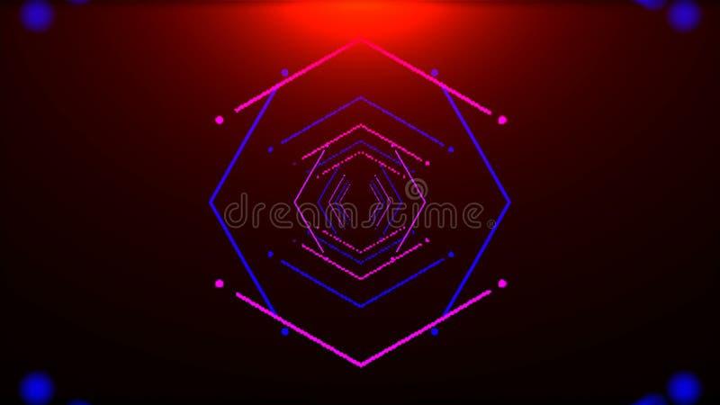 Den futuristiska tunnelen med neonljus i utrymme, den abstrakta datoren frambragte bakgrunden, tolkningen 3D royaltyfri illustrationer