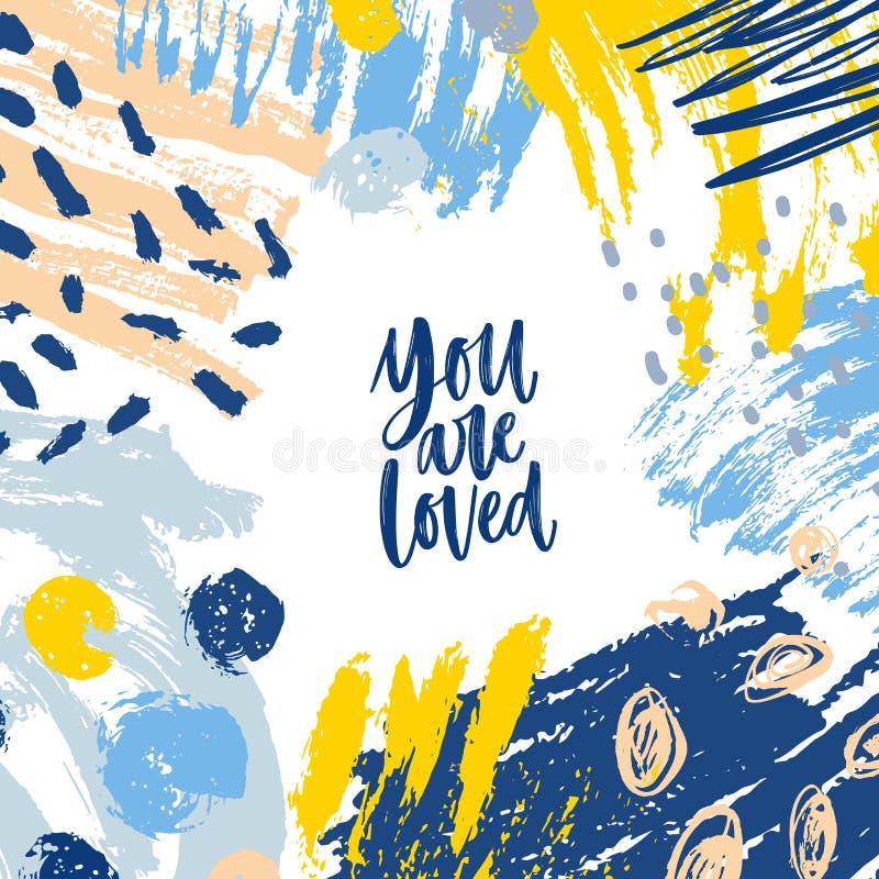 Den fyrkantiga baner- eller kortmallen med dig älskas som inspirerar meddelandet, och ramen bestod av kaotiska fläckar, penseldra royaltyfri illustrationer