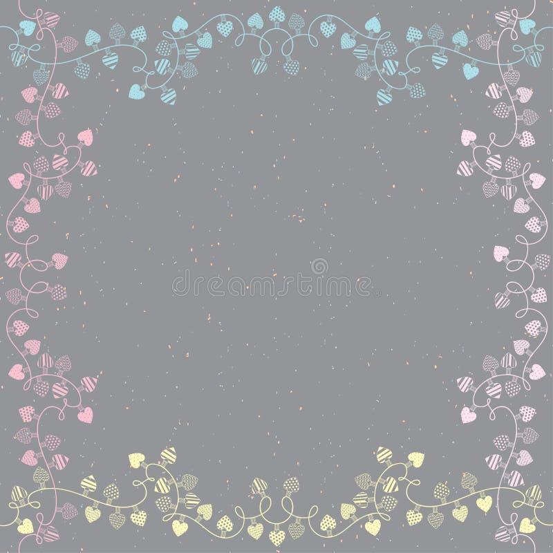 Den fyrkantiga ramen med girlander av förälskelsehjärtor Vektorillustration med utrymme för text royaltyfri illustrationer