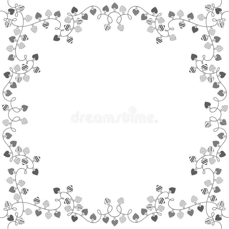 Den fyrkantiga ramen med girlander av förälskelsehjärtor Vektorillustration med utrymme för text på vit bakgrund stock illustrationer